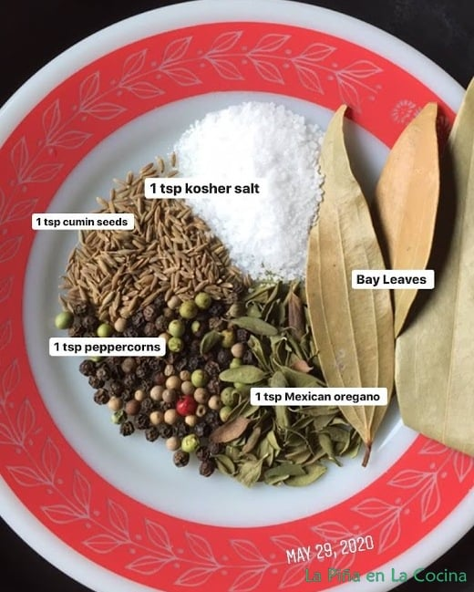Spices on a plate used in this recipe