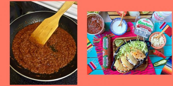 Collage of chorizo in a skillet and a landscape photo of gorditas with products on table