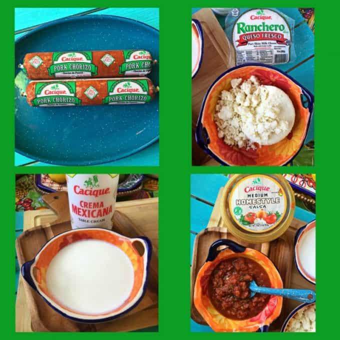 Collage of Cacique products. Chorizo, Queso Fresco Ranchero, Crema Mexicana and Home-style Salsa