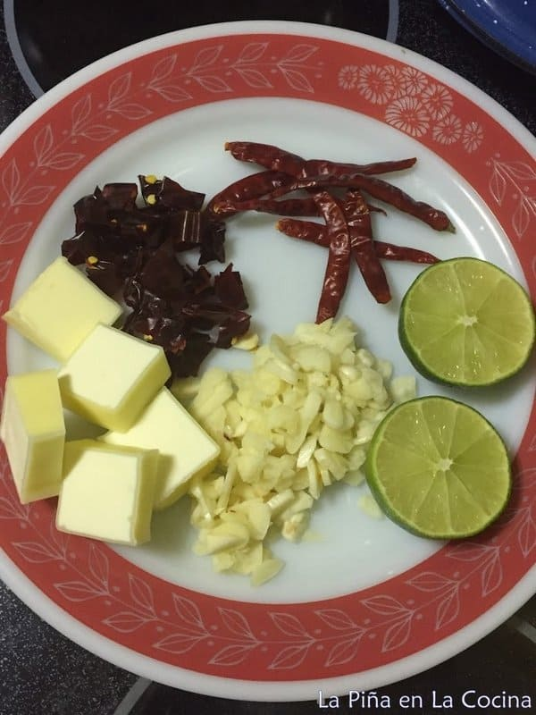 Ingredients for mexican garlic shrimp on a plate