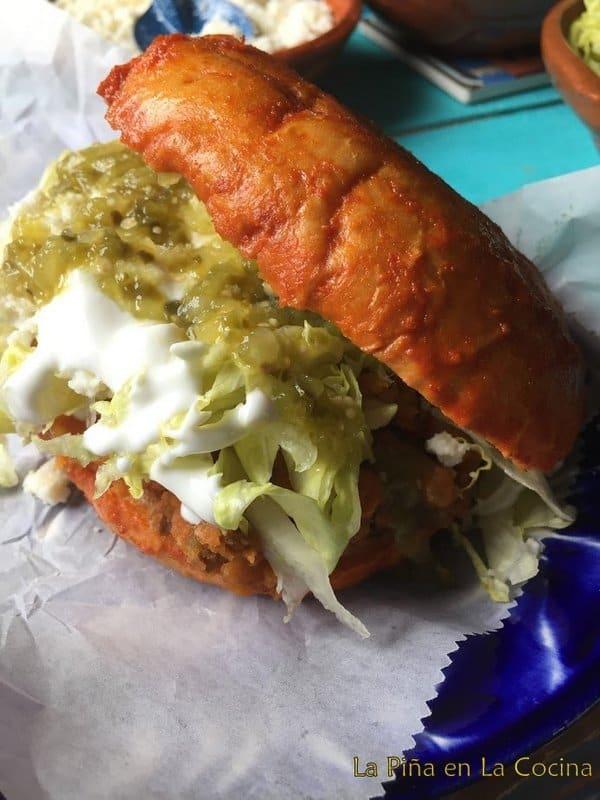 Loaded pambazo sandwich close up