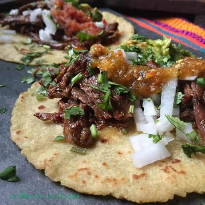 Beef barbacoa taco with garnishes close up