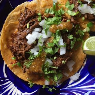 Barbacoa taco top view