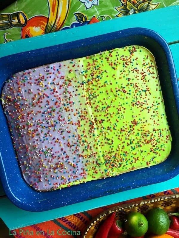 Frosted Cake with Sprinkles in pan