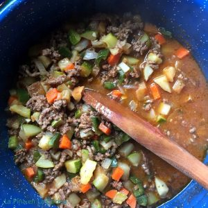 Top view of picadillo with vegetables