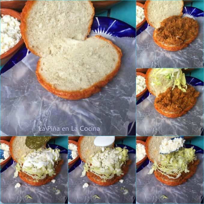 Collage of how to assemble a pambazo sandwich