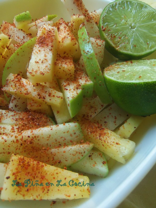 Pineapple, Green Apple and Jicama Fruit bowl with fresh lime and chile limon powder