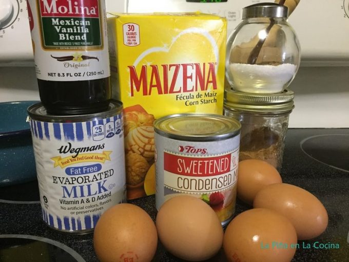 Ingredients for preparing flan