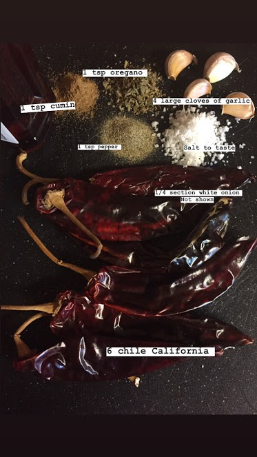 Ingredients for red chile sauce/adobo