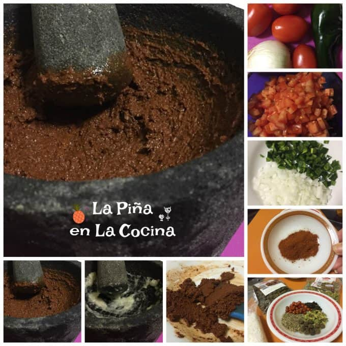 Collage of spicy marinated beef ingredients