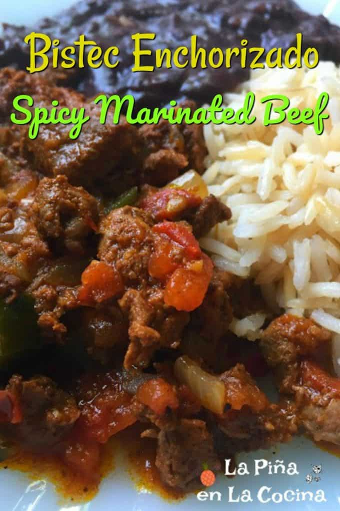 Pinterest photo with header for spicy marinated beef