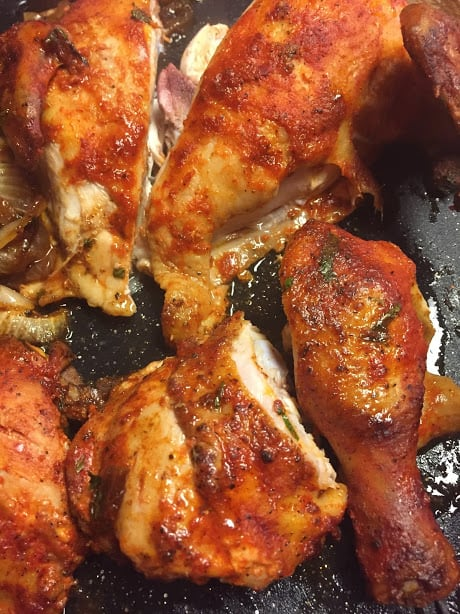 Roasted Chicken in pieces close up