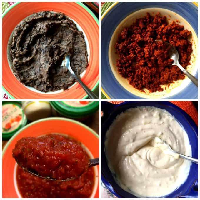 Collage of food ingredients used on tostadas