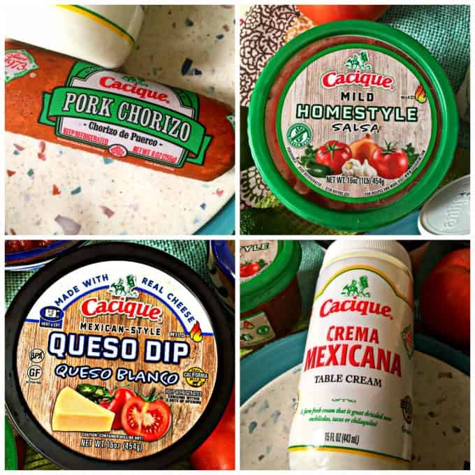 Collage of Cacique products used in this post. Chorizo, homestyle salsa, queso dip and pork chorizo