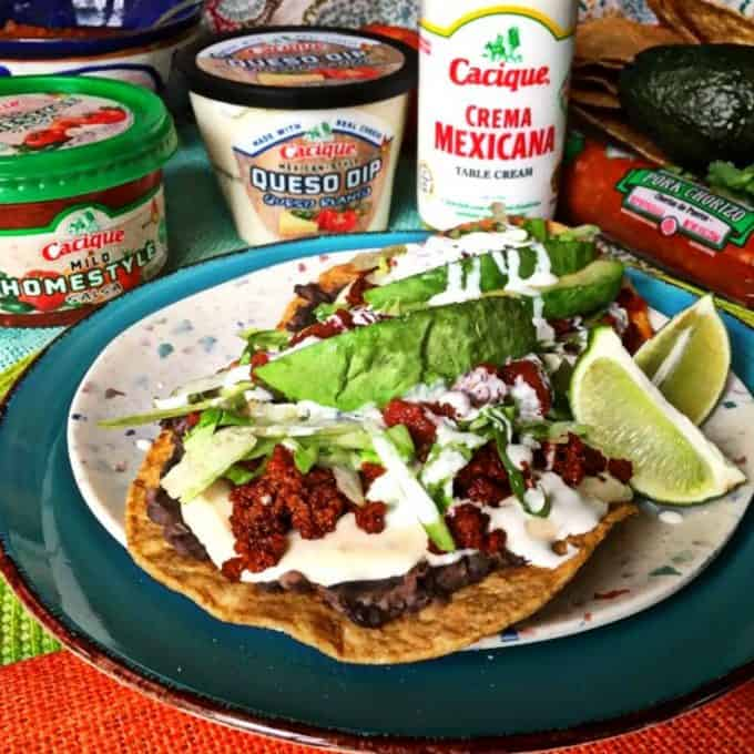 Black bean and chorizo tostadas qith Cacique products