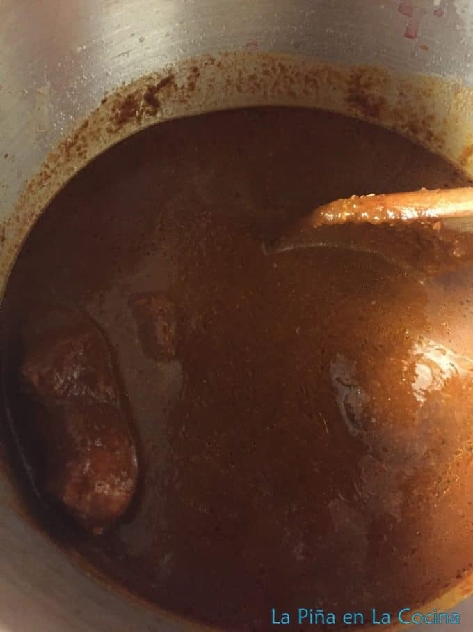 Mole with pork in the pressure cooker top view