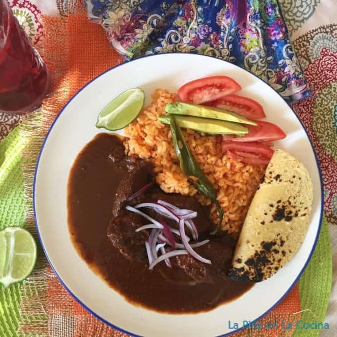 Mole de Jamaica plated with rice and a salad top view