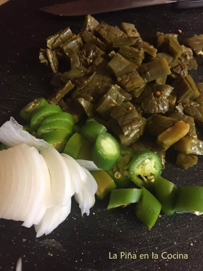 Chopped onion, serrano pepper and nopalitos prepped