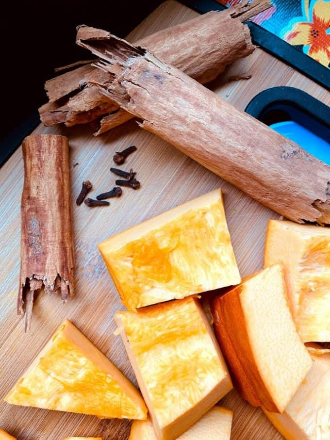 mexican cinnamon sticks, whole cloves, fresh pumpkin