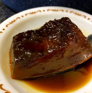 wedge of pumpkin in syrup