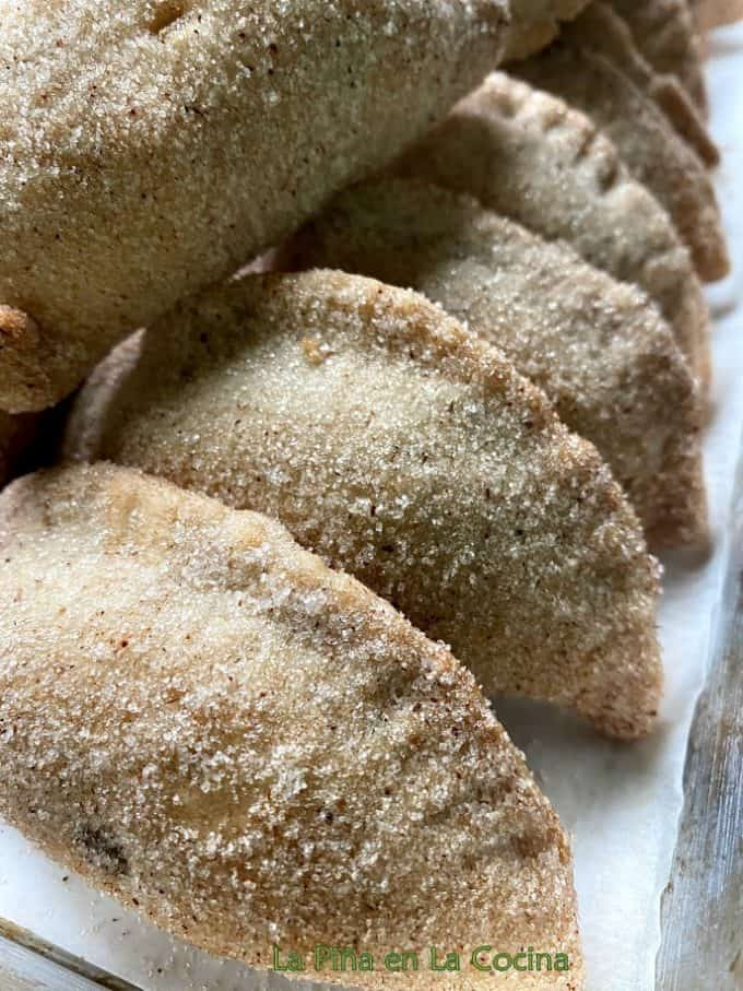 Sugar coated empanadas close up