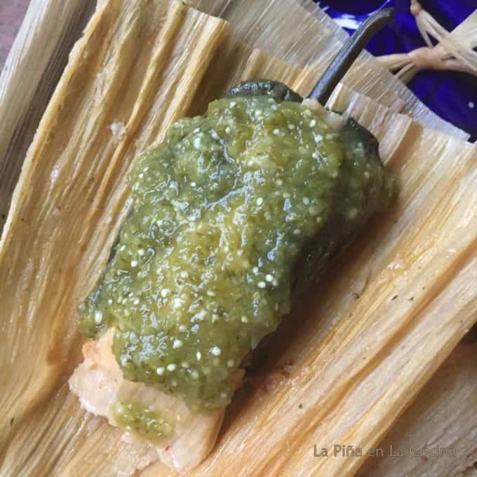 Tamachile garnished with salsa verde