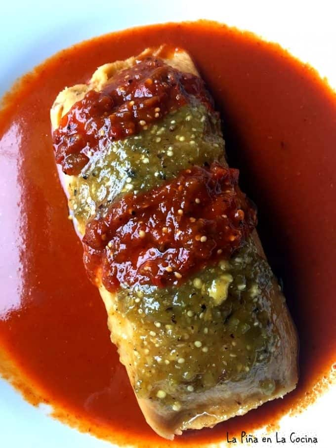 Tamal and chile relleno all in one! This one is stuffed with picadillo!
