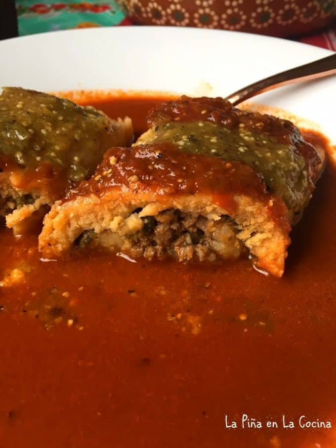 Tamal and chile relleno in one. It's sliced open so you can see the inside.