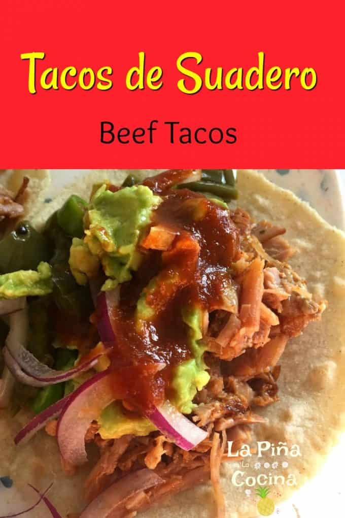 Pinterest image with header for suadero tacos