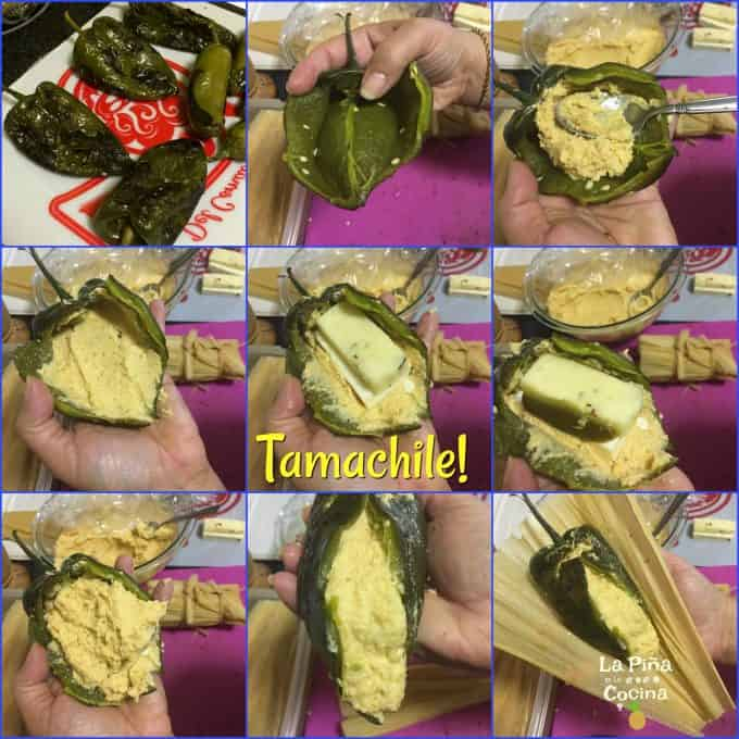 A collage of how to stuff a tamachile
