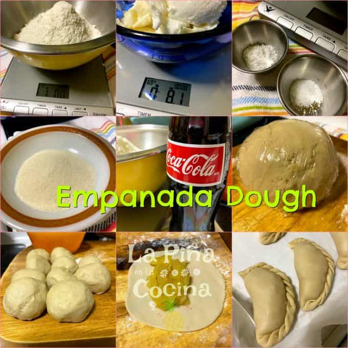 Collage of ingredients for empanada dough