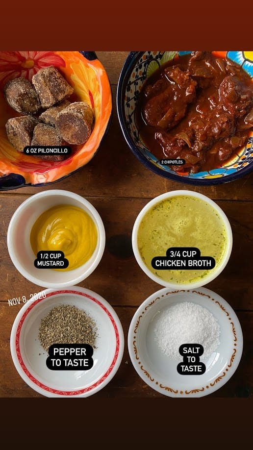 Glaze ingredients in separate bowls