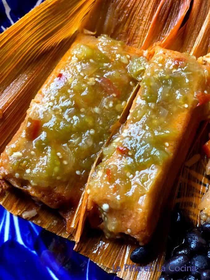 Tomatillo chile de arbol salsa on tamales