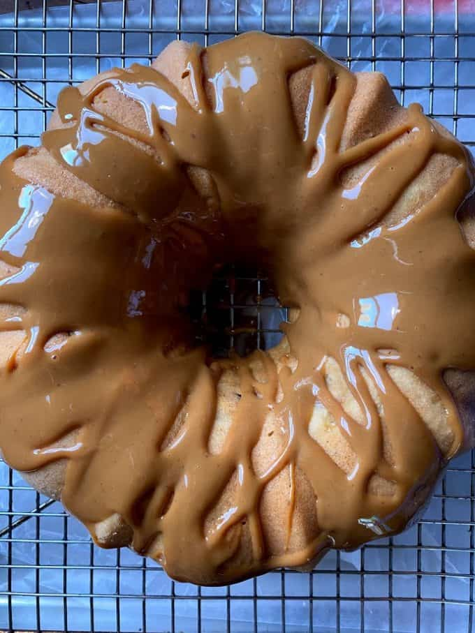 top view bundt cake with dulce de leche topping