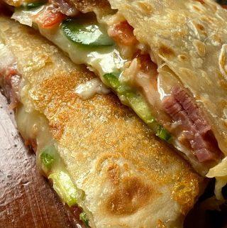 Sliced open quesadilla