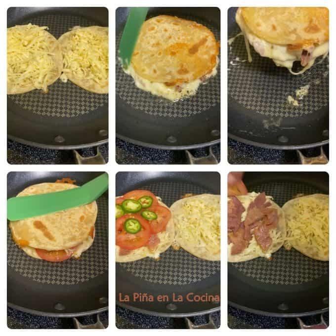 Collage of ham quesadilla