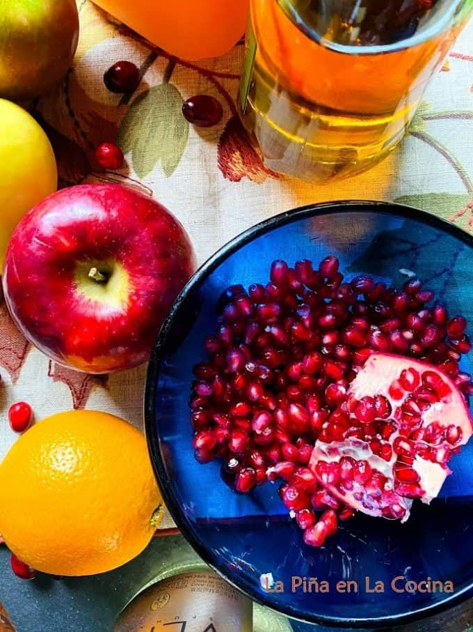 Pomegranate seeds in a bowl close up