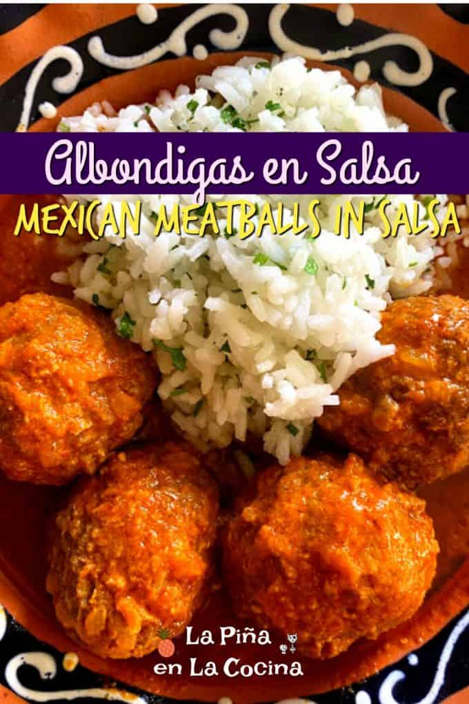 Pinterest image of stuffed meatballs with header