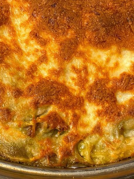 Top view salsa verde spaghetti casserole