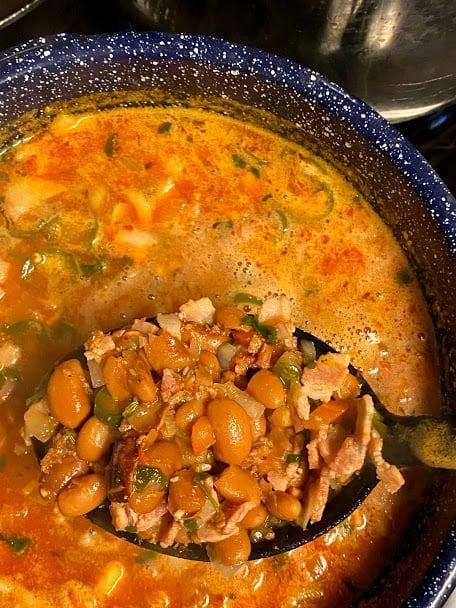 Big spoonful of hot drunken beans close up