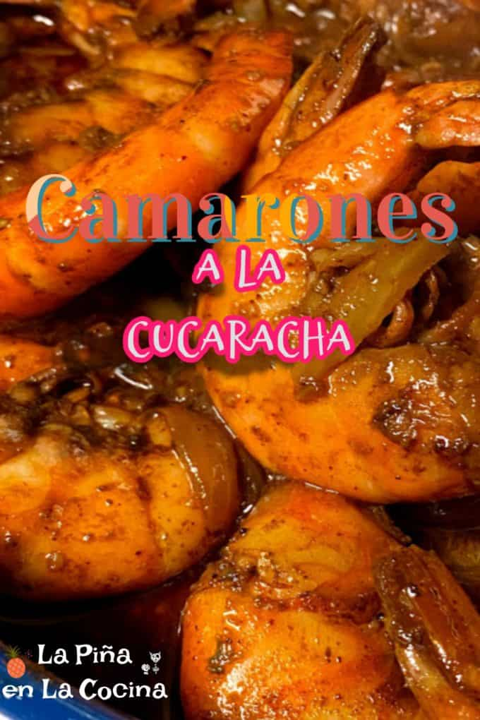 Pinterest image of Camarones a La Cucaracha with header