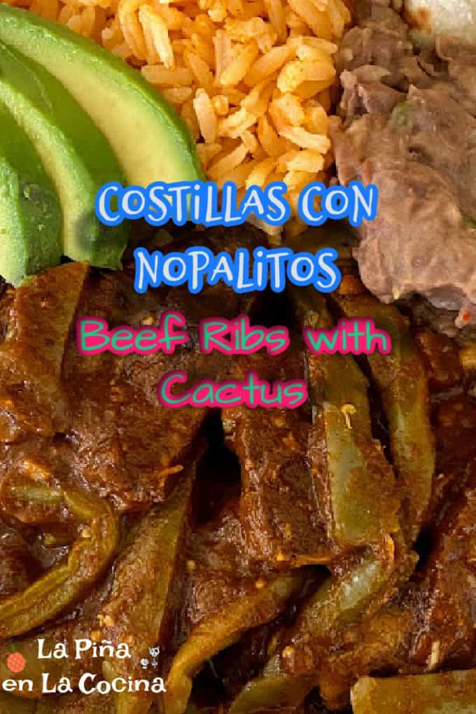 Pinterest image with header for beef ribs with cactus