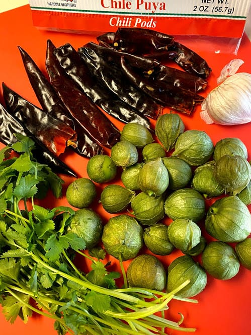 Ingredients for chile puya tomatillo salsa