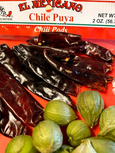 Dried chile puya close up out of the package