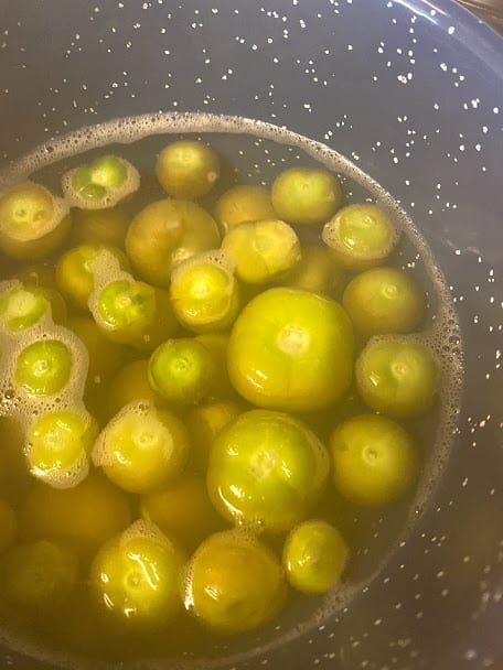 close up of cooked tomatillos in water