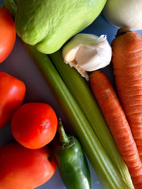 Vegetables before washing and dicing. Tomatoes, garlic, onion, celery, jalapeno, chayote and carrots