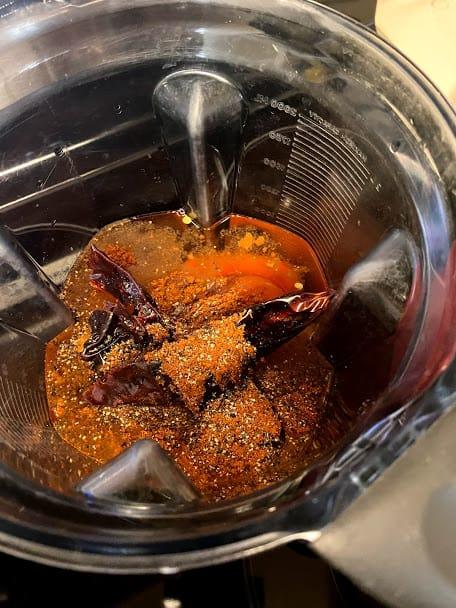 ingredients for the salsa base in the blender jar