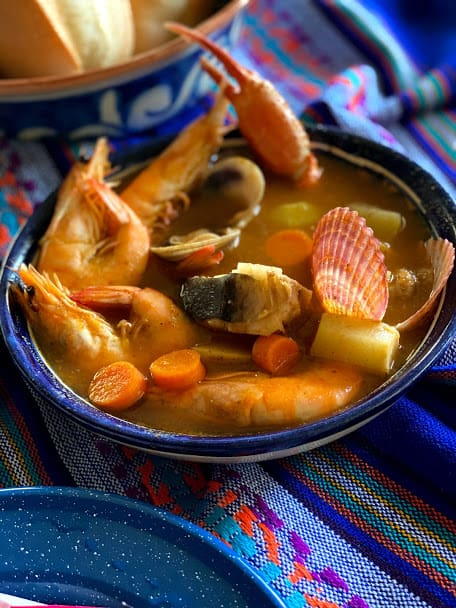 Close up of seafood soup without garnish