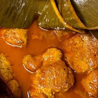 pork pibil hot in the pressure cooker with banana leaves