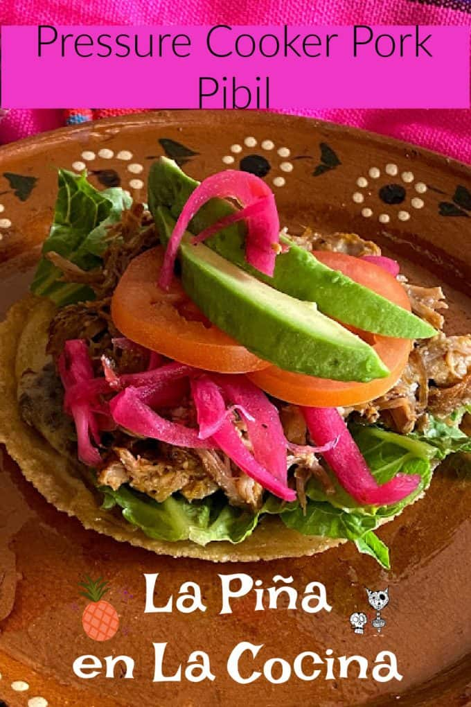 Pinterest image of pork pibil panucho on a mexican plate with header and footer